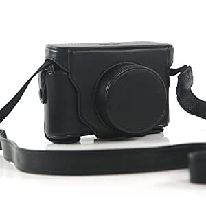 Black Camera Leather Bag Cover Case for Fujifilm X10 (7334-1)