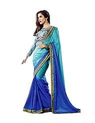 Ladli Fashion Women's Chiffon Saree (LF7000_Blue)