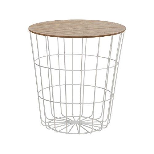 Trendiger-Beistelltisch-aus-Metall-und-Holz-Praktischer-Stauraum-6-Farben-whlbar-Wei
