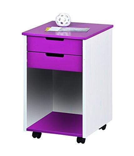 Links-20701030-Rollcontainer-Kinderkommode-Kinderzimmer-Rollschrank-Rollwagen-2-Schubladen-lila