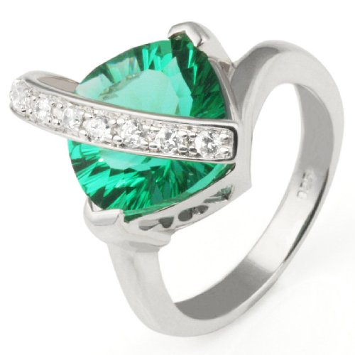 Sterling Silver Ring Polished  a Emerald Square-Shaped