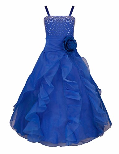 iEFiEL Ladys Girl Rhinestone Organza Flower Dress Pageant Holiday Prom Gown