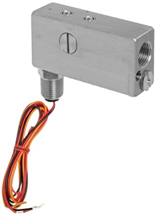"Gems Sensors FS-10798  Series Stainless Steel 316 Flow Switch For Use With Liquids, Inline, Piston Type, With 1/2"" Conduit Connector, 0.50 - 20 gpm Flow Setting Adjustment Range, 1/2"" NPT Female"
