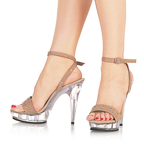 CLOSEUP-518, 5'' Heel,Tan Hologram/Clear Sandals, by Pleaser USA