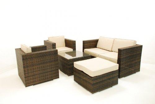 Rattan-Gartenmöbel-set, Tisch Dublin-sofa 5-teilig, braun