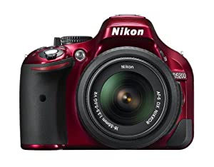 Nikon D5200 24.1 MP CMOS Digital SLR with 18-55mm f/3.5-5.6 AF-S DX VR NIKKOR Zoom Lens (Red)