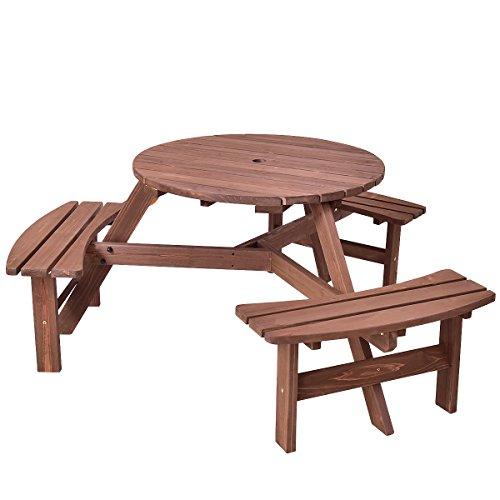 Giantex 6 Person Wooden Picnic Table Set Wood Bench Umbrella Hold Design, Perfect Outdoor Garden Yard Pub Beer Dining, Dark Brown