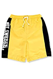 Assorted Slogans Contrast Drawstring Swim Shorts