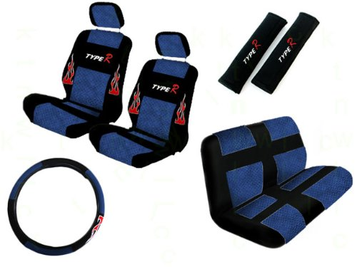 A Set of 11 Piece Universal Fit Perforated Leatherette Racing Sport Type R Flames Seat Covers for Low Back Bucket Seat and Standard Bench Seat - Blue