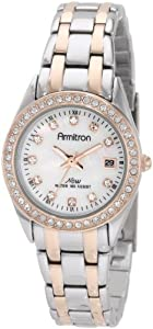 Armitron Women's 75/4024MPTR Swarovski Crystal Accented Two-Tone Mother-Of-Pearl Dial Bracelet Watch