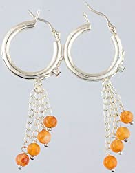 Exotic India Carnelian Hoop Chandeliers - Sterling Silver