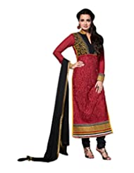 Admyrin Dia Mirza Red Georgette Salwar Suit With Black Chiffon Dupatta