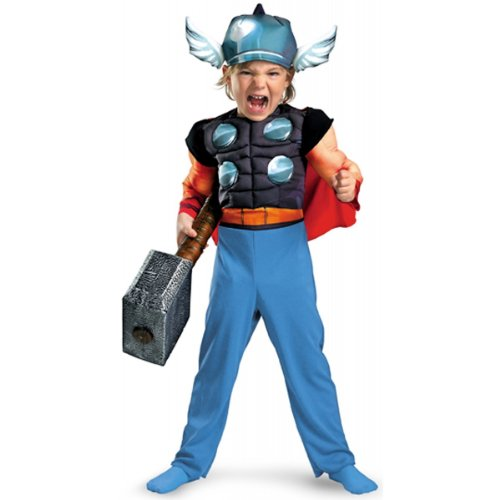Thor Toddler Muscle Costume,Medium: 3T-4T front-998064