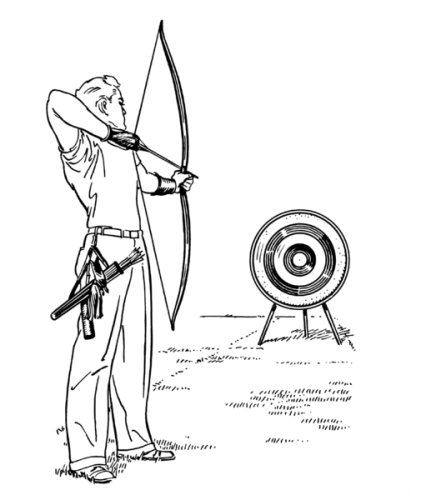 6 inch x 4 inch Greeting Card Line Drawing Archery