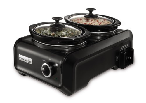Crock-Pot SCCPMD1-CH Hook Up Connectable Entertaining System, Double Oval 1-quart,  Metallic Charcoal (3 Dip Crock Pot compare prices)
