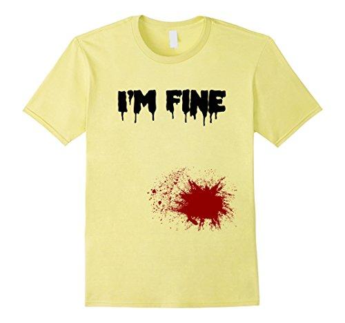 Men's I'm Fine Bloody T Shirt Funny Graphic Bleeding Wound Tee 3XL Lemon