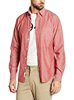 Cortefiel Camisa Hombre Chambray Liso T-B/D (Rojo)