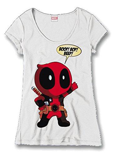 Deadpool Ladies Maglia T Shirt Boop Bop Beep Size M CODI