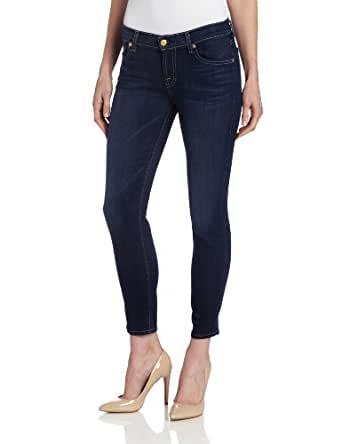 7 For All Mankind Women's Crop Slim Cigarette Jean in Radiant Medium Blue, Radiant Medium Blue, 24