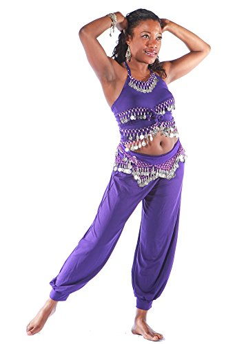 Belly Dance Harem Pants, Top & Hip Scarf Costume Set | Raqs Basic 2