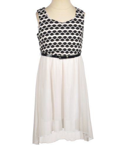 My Michelle Girls 7-16 Printed Circle Bodice Dress Belted With Hi-Low Skirt, Ivory, 7
