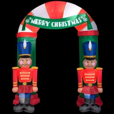 8 ft tall lighted nutcracker archway inflatable christmas outdoor holiday display yard decor welcome friends and family in festive style this holiday season - Christmas Outdoor Inflatables