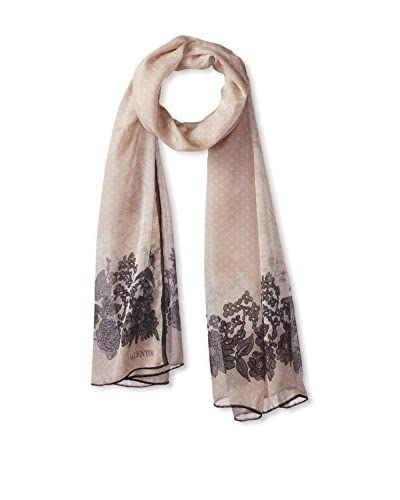 Valentino Women's Sophisticated Lace Chiffon Scarf, Beige/Grey