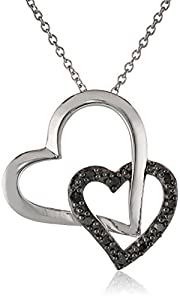 Sterling Silver 1/10cttw Black Diamond Double Hearts Pendant Necklace, 18