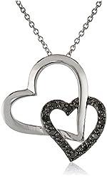 "Sterling Silver 1/10cttw Black Diamond Double Hearts Pendant Necklace, 18"""