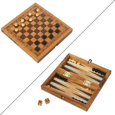 EXP Handmade Checkers / Backgammon Travel Game