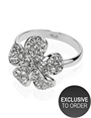 M&S Collection Platinum Plated Diamanté Pave Floral Ring