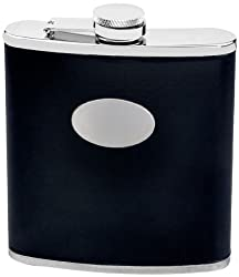 Visol Eclipse II Leatherette Stainless Steel Hip Flask, 18-Ounce, Black