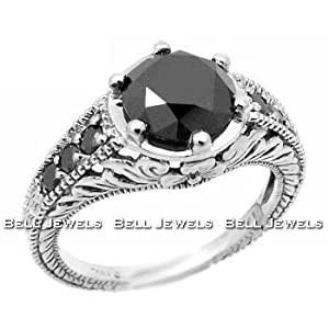 14K White Gold Antique Style Black Diamond Ring