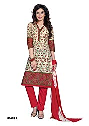 DARPAN TEXTILES Ethnicwear Women's Dress Material Off-White_Free Size