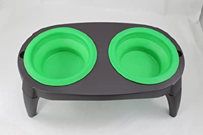#1 Best Elevated Dog Bowls Collapsible Pet Feeder Bowls- Travel Dog Bowl Dog Feeder Dish Food Water Bowl, Washable, Non Corrosive Rust Proof Raised Dog Feeder - Make Flat For Travel - 2 Removable Pet Bowls - Brand: Perfect Life Ideas -TM ®
