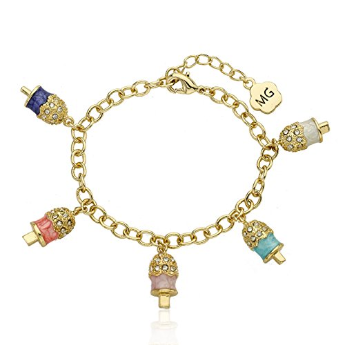 Molly Glitz Sparkle Sweet 14k Gold-Plated Crystal Topped Popsicle 5 Charm Bracel…