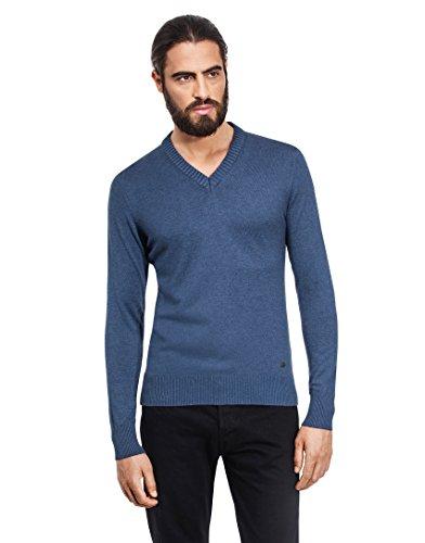 VB-Maglione da uomo con scollo a V, Slim blue-grey X-Large