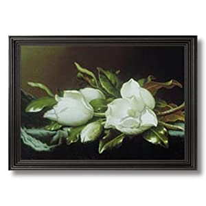 Solid Wood Black Framed White Magnolia Flower Floral Contemporary Pictures Art Print