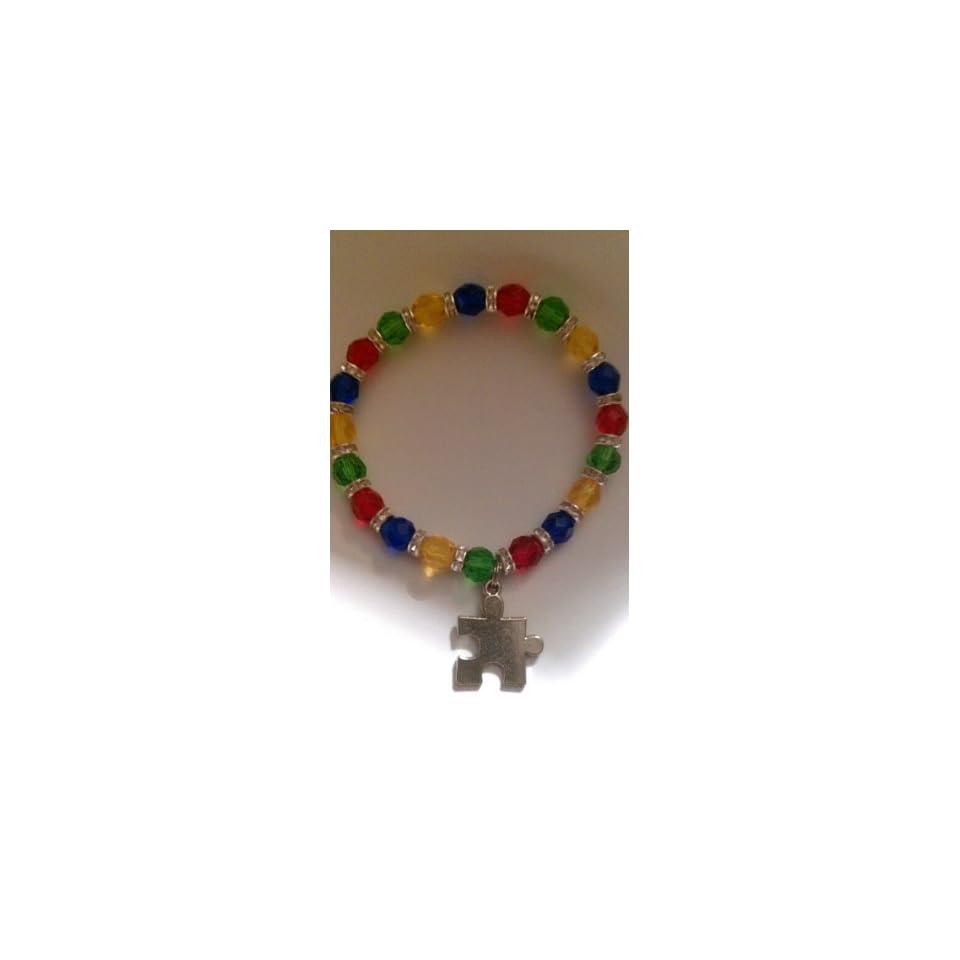 com Autism Awareness Rhinestone Bracelet   Glass Beads   Puzzle Piece