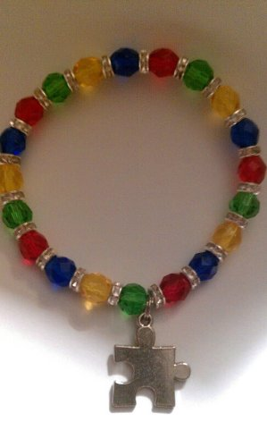Autism Awareness Rhinestone Bracelet - Glass Beads - Puzzle Piece Charm