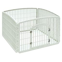 Iris White Four Panel Pet Containment and Exercise Pen with Door 35.3\