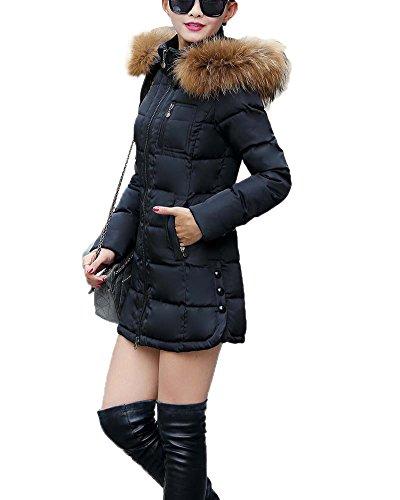 Donna Giubbino Imbottito Invernale Calda Giacca In Cappotto Nero M