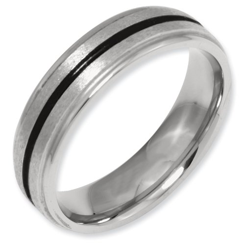 Titanium Black Enamel 6mm Satin and Polished Band Ring Size 14.5 Real Goldia Designer Perfect Jewelry Gift for Christmas