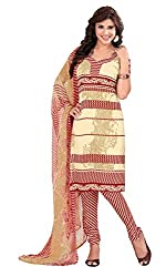 Fabgruh Presents Silk Dress Material(Cream,Red)