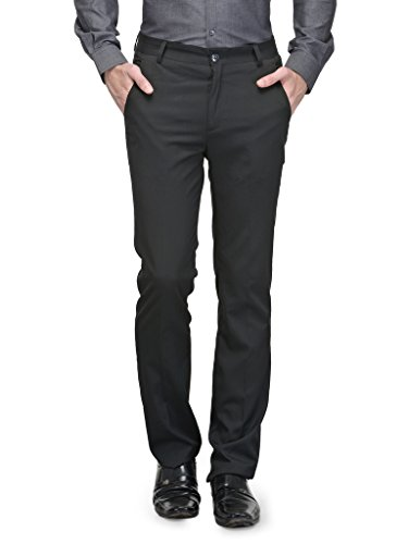 Canary London Black Men's Slim Fit Flat Front Trousers