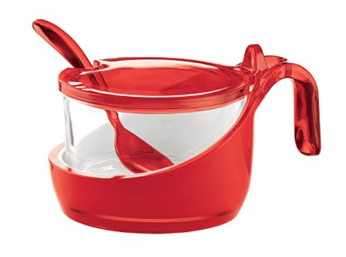Guzzini GU-2489.00-65 Mirage Parmesan Server/Jar/Sugar Bowl with Spoon, 7-Ounce, Red