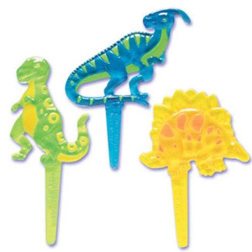 Dress My Cupcake DMC41D-21 12-Pack Dinosaurs Pick Decorative Cake Topper, Birthday, Assorted - 1
