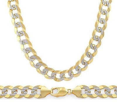 14K Gold Necklace Pave Cuban Chain Multi Tone Yellow White Link 6Mm , 18 Inch