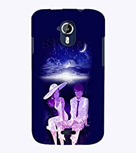 PrintVisa Romantic Love Romantic Couple 3D Hard Polycarbonate Designer Back Case Cover for Micromax Magnus A117