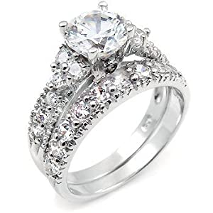 Sterling Silver Cubic Zirconia CZ Wedding Engagement Ring Set Sz 7